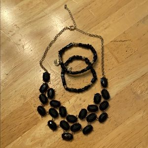 Jewelry - Gold and black  necklace and black bracelet